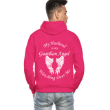 Husband Guardian Angel Gildan Heavy Blend Adult Hoodie (CK3555) - fuchsia