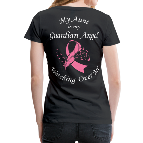 Aunt Guardian Angel Cancer Ribbon Women's Premium T-Shirt - black