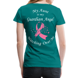 Aunt Guardian Angel Cancer Ribbon Women's Premium T-Shirt - teal