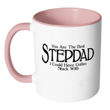 Funny Stepdad 11oz Coffee Mug with Colored Handle - Fathers Day Gift for Stepdad