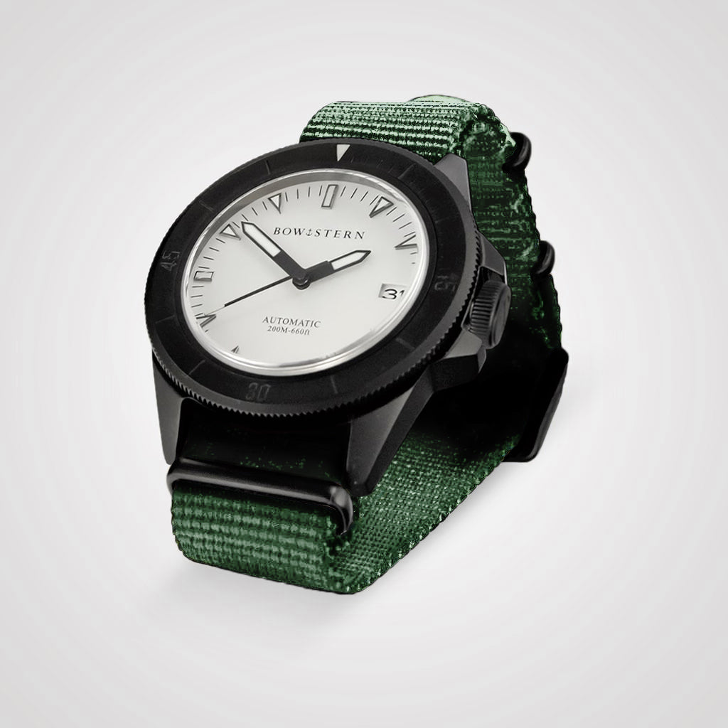 ABYSS Automatic Dive Watch - Matte Black Case (Army Green NATO)
