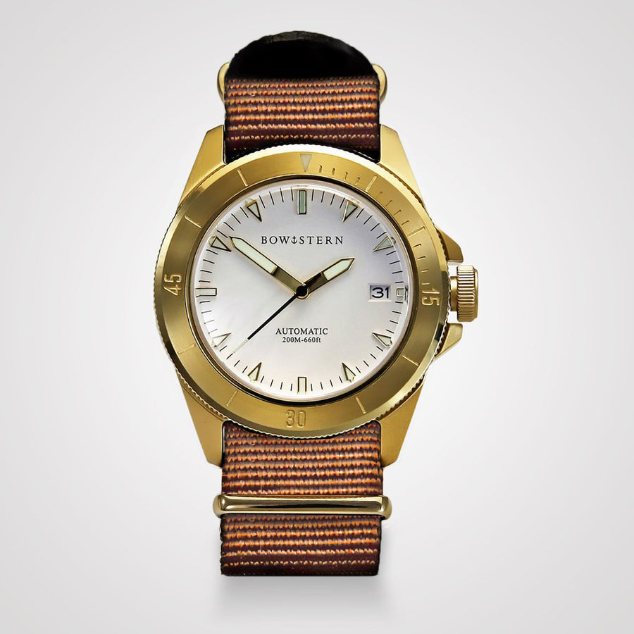 ABYSS Automatic Dive Watch - Brushed Gold Case (Camel Tan NATO)
