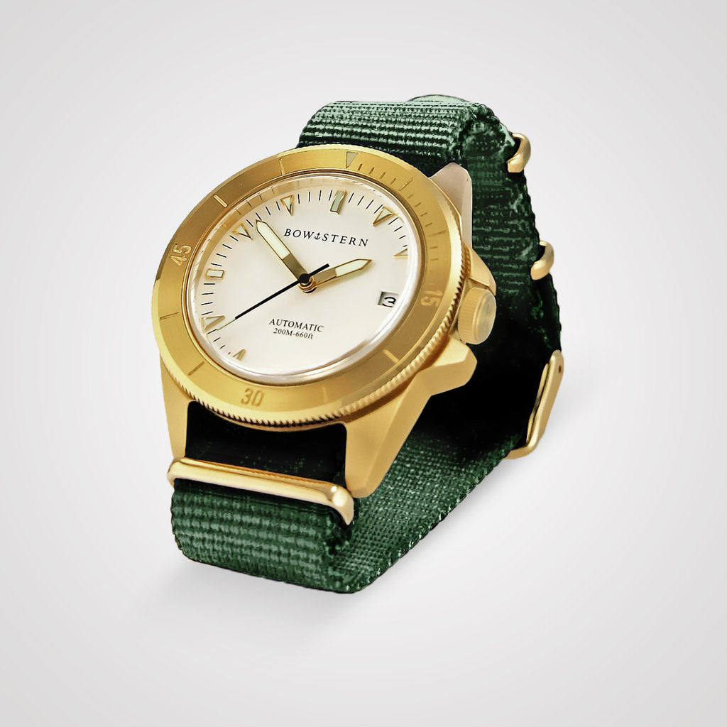 ABYSS Automatic Dive Watch - Brushed Gold Case (Army Green NATO)