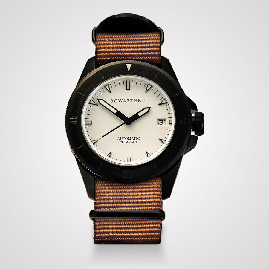 ABYSS Automatic Dive Watch - Matte Black Case (Camel Tan NATO)