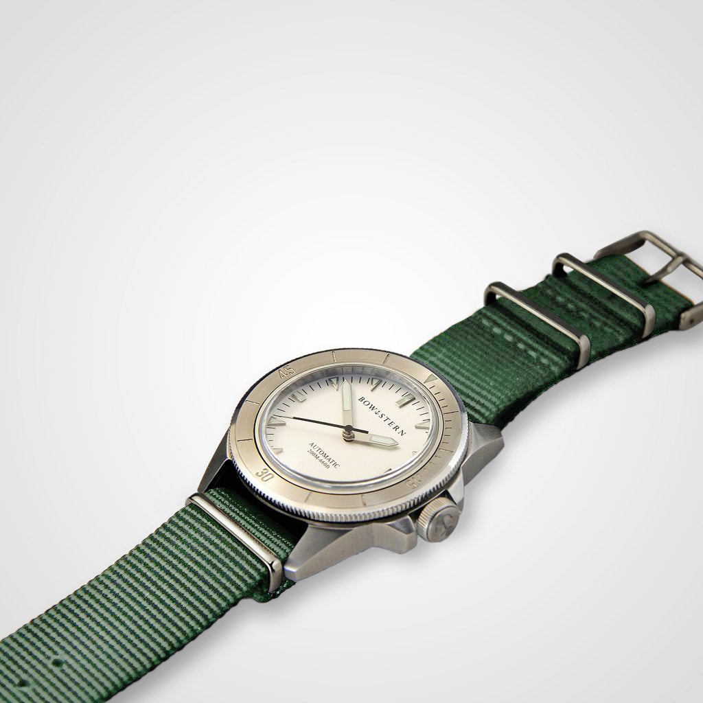 ABYSS Automatic Dive Watch - Brushed Silver Case (Army Green NATO)