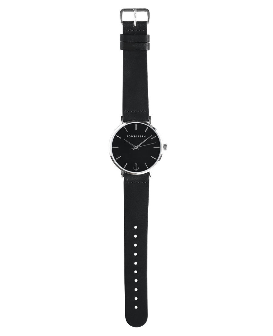 Silver and Black Watch, Black Leather Strap - AfterPay Watch - Bow and Stern Swiss Quartz Watch