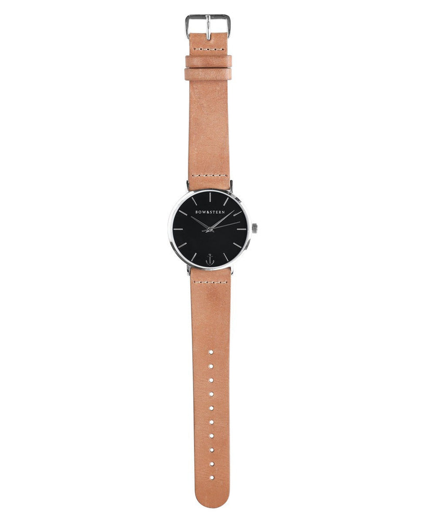 Atlantico - Silver and Black Watch | Tan Leather