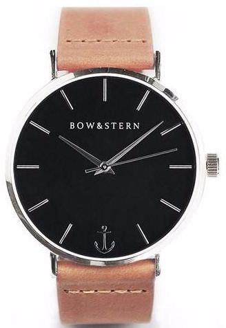 Silver and Black Watch, Tan Leather Strap - AfterPay Watch - Bow and Stern Swiss Quartz Watch
