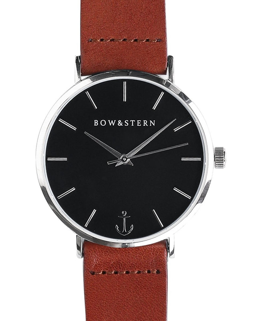 Atlantico - Silver and Black Watch | Brown Leather