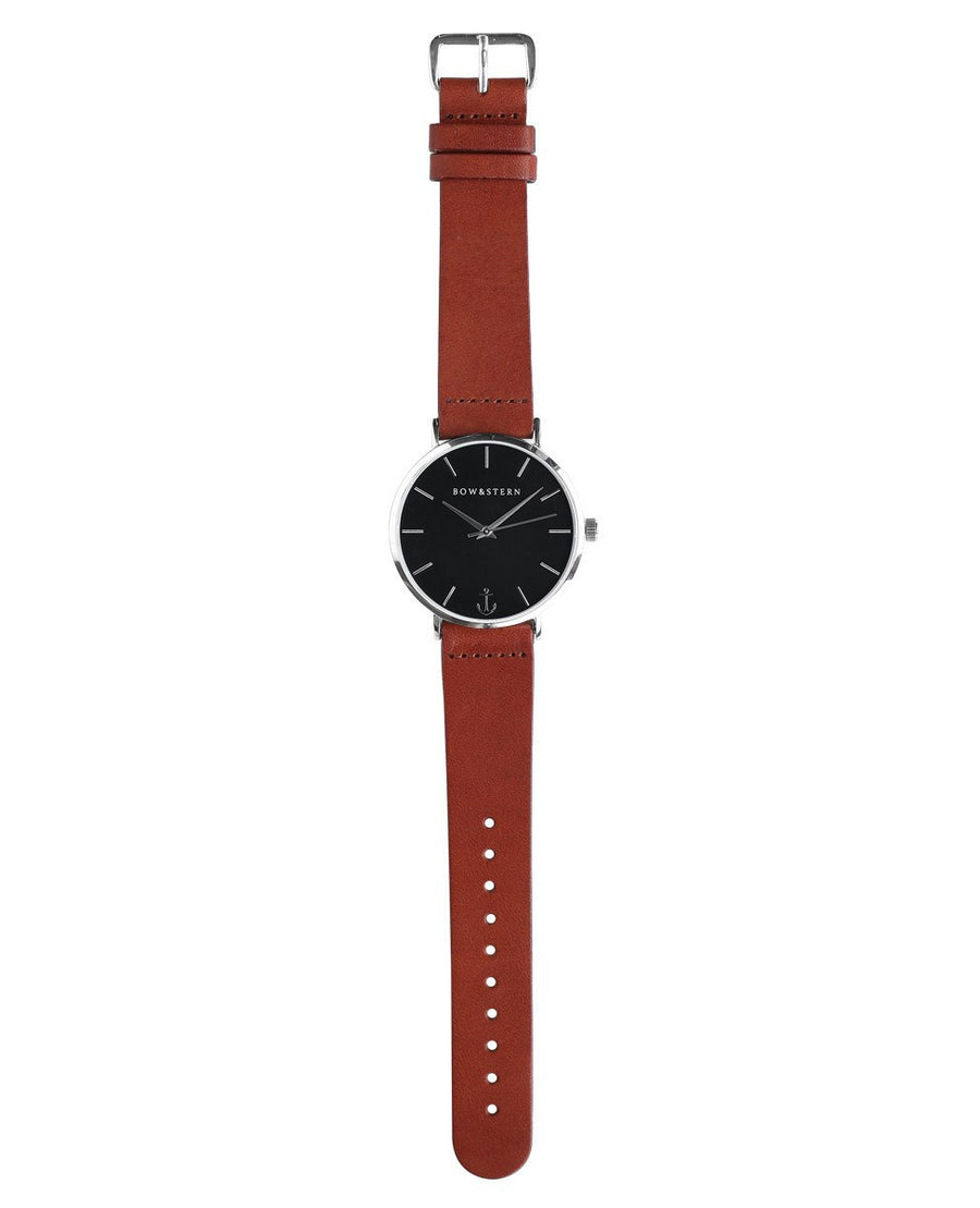 Silver and Black Watch, Brown Leather Strap - AfterPay Watch - Bow and Stern Swiss Quartz Watch