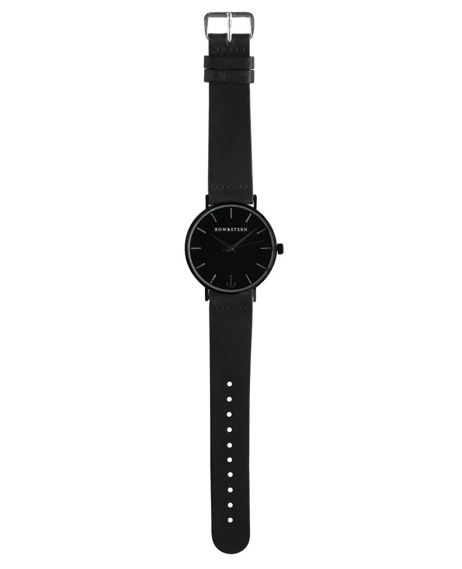 Matte Black Watch, Black Leather Strap - AfterPay Watch - Bow and Stern Swiss Quartz Watch