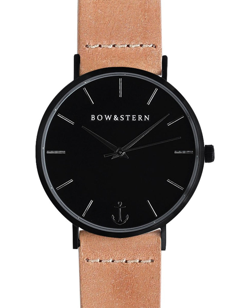 Matte black watch tan leather strap bow and stern watch for Black tan watch