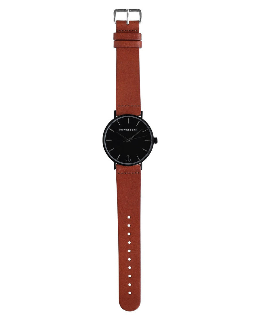 Matte Black Watch | Brown Leather Strap