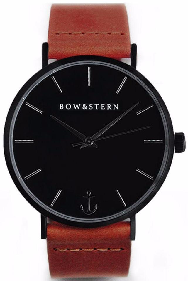 Matte Black Watch | Brown Leather Strap - AfterPay Watch - Bow and Stern Swiss Quartz Watch