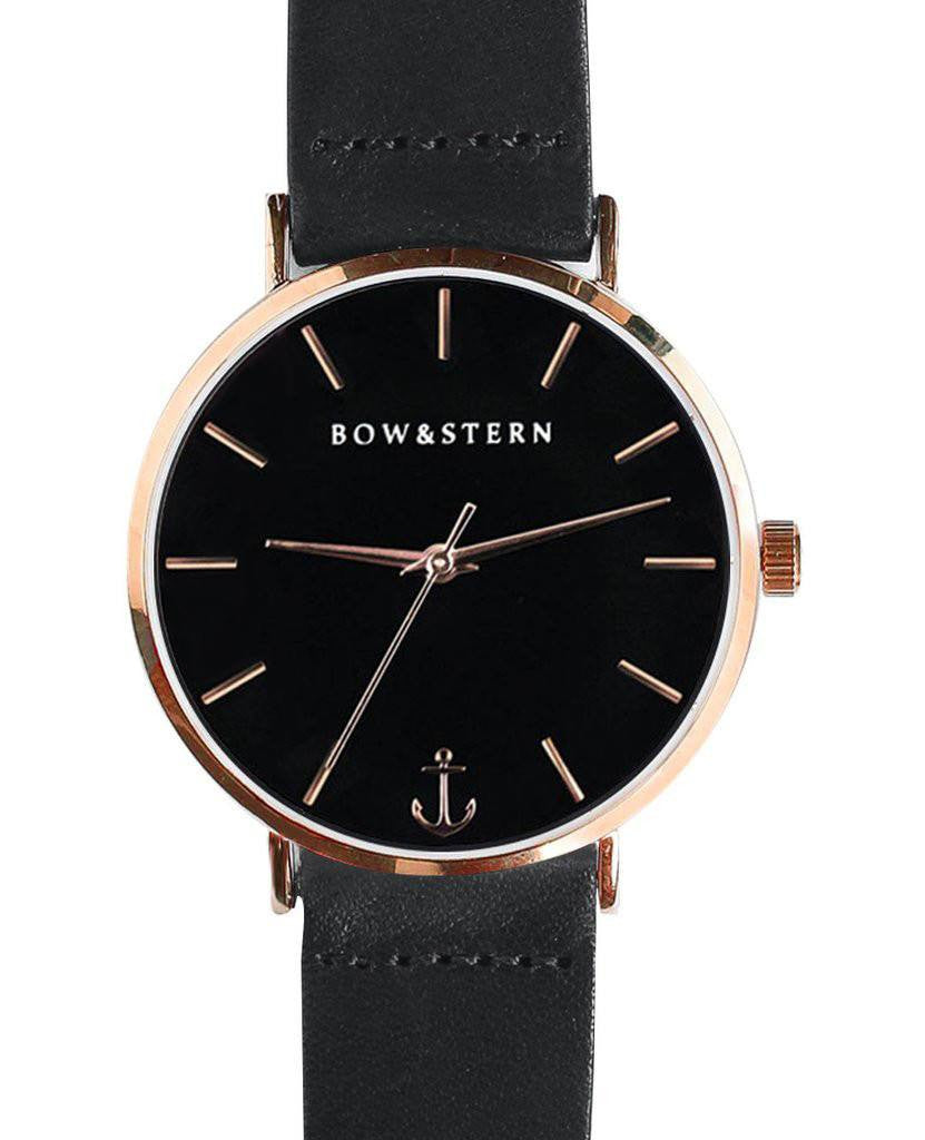 Catalina bow and stern watch. polished rose gold case, black dial, black leather