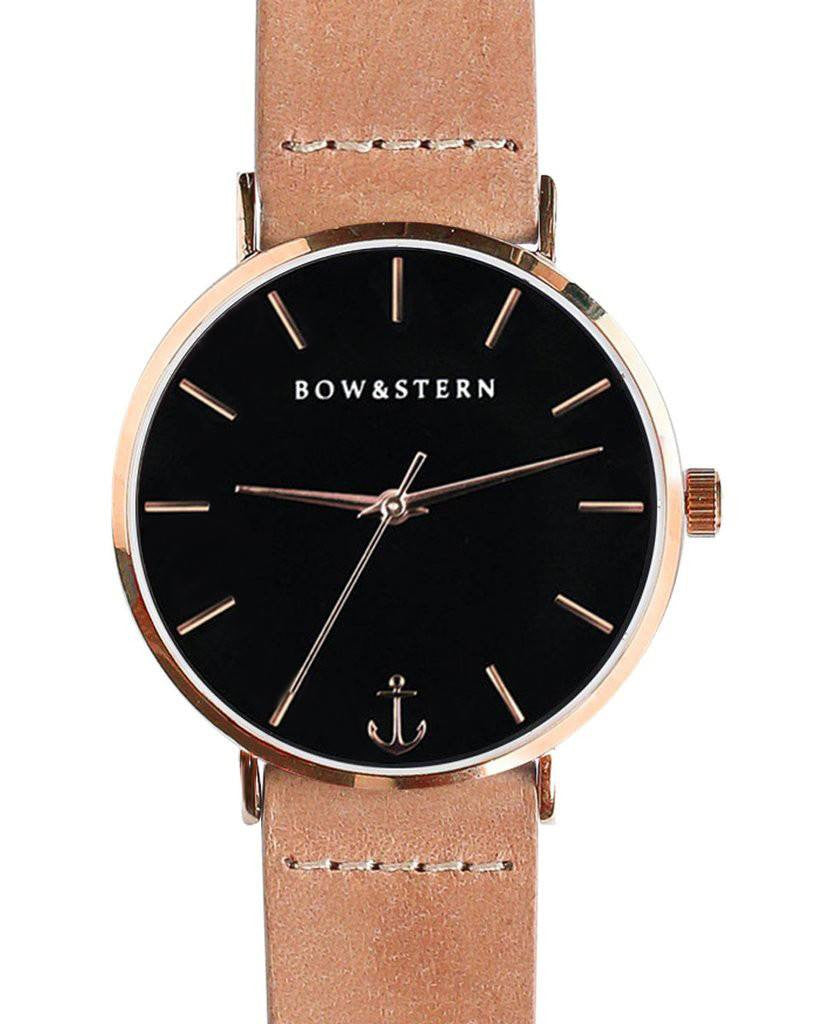 Womens Rose Gold and Black Watch | Tan Leather Strap