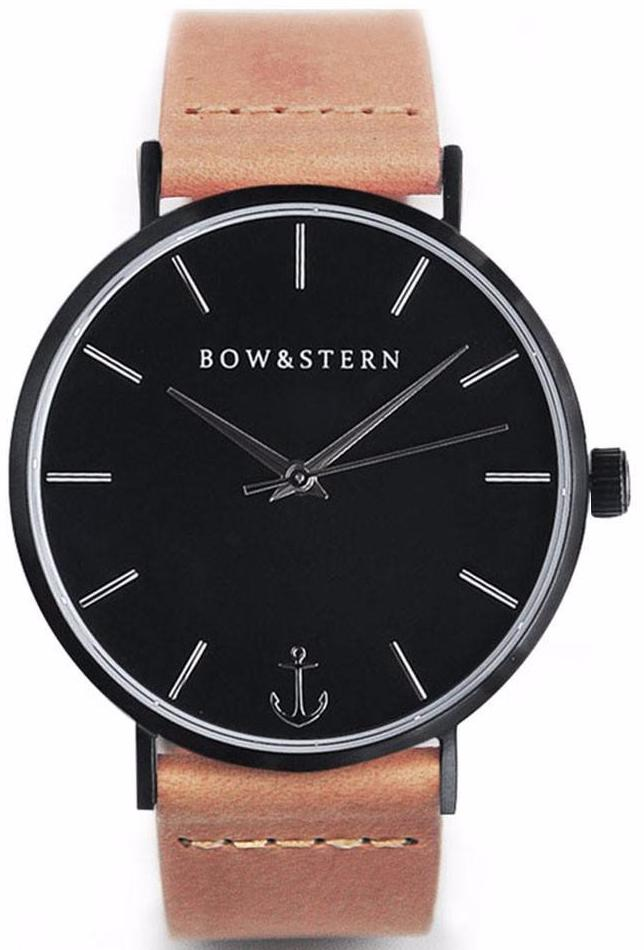 Matte Black and Silver Watch | Tan Leather Strap - AfterPay Watch - Bow and Stern Swiss Quartz Watch