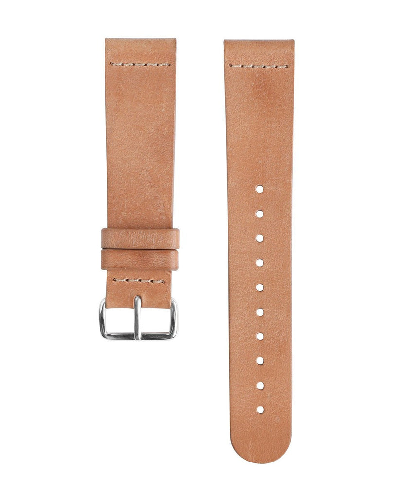 Castaway - Matte Black and Silver Watch | Tan Leather