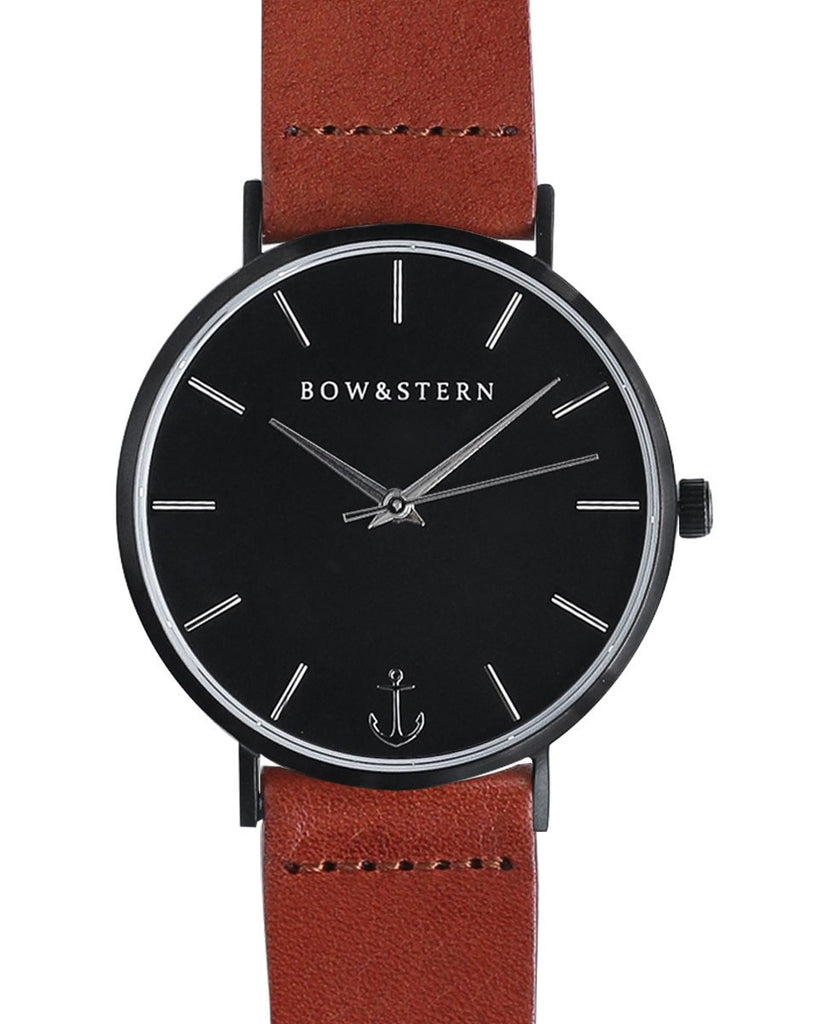 Castaway - Matte Black and Silver Watch | Brown Leather