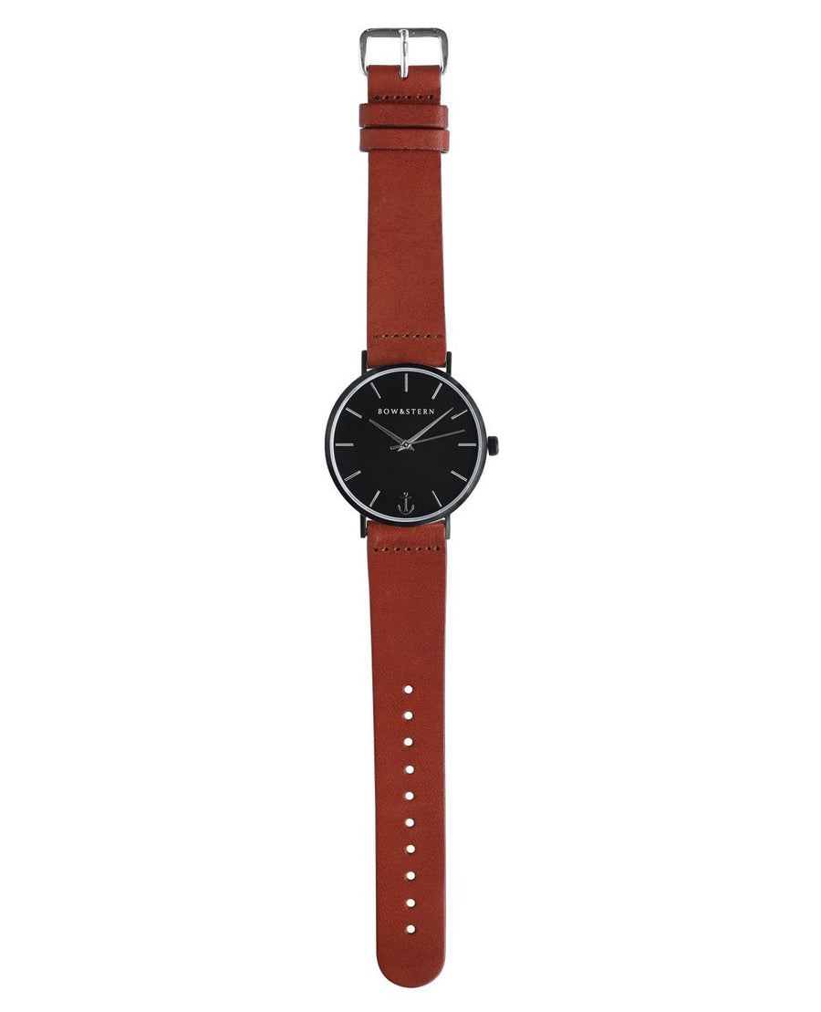 Matte Black and Silver Watch | Brown Leather Strap