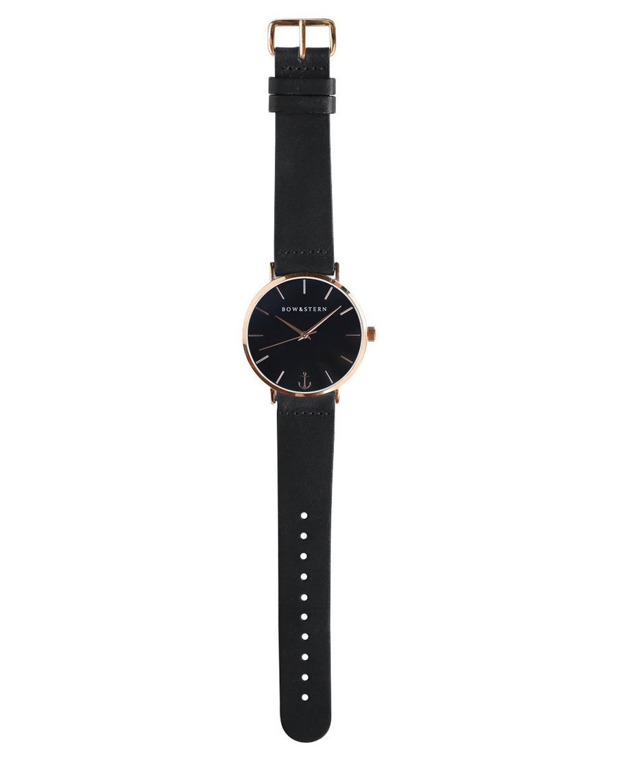 Rose Gold and Black Watch | Black Leather Strap