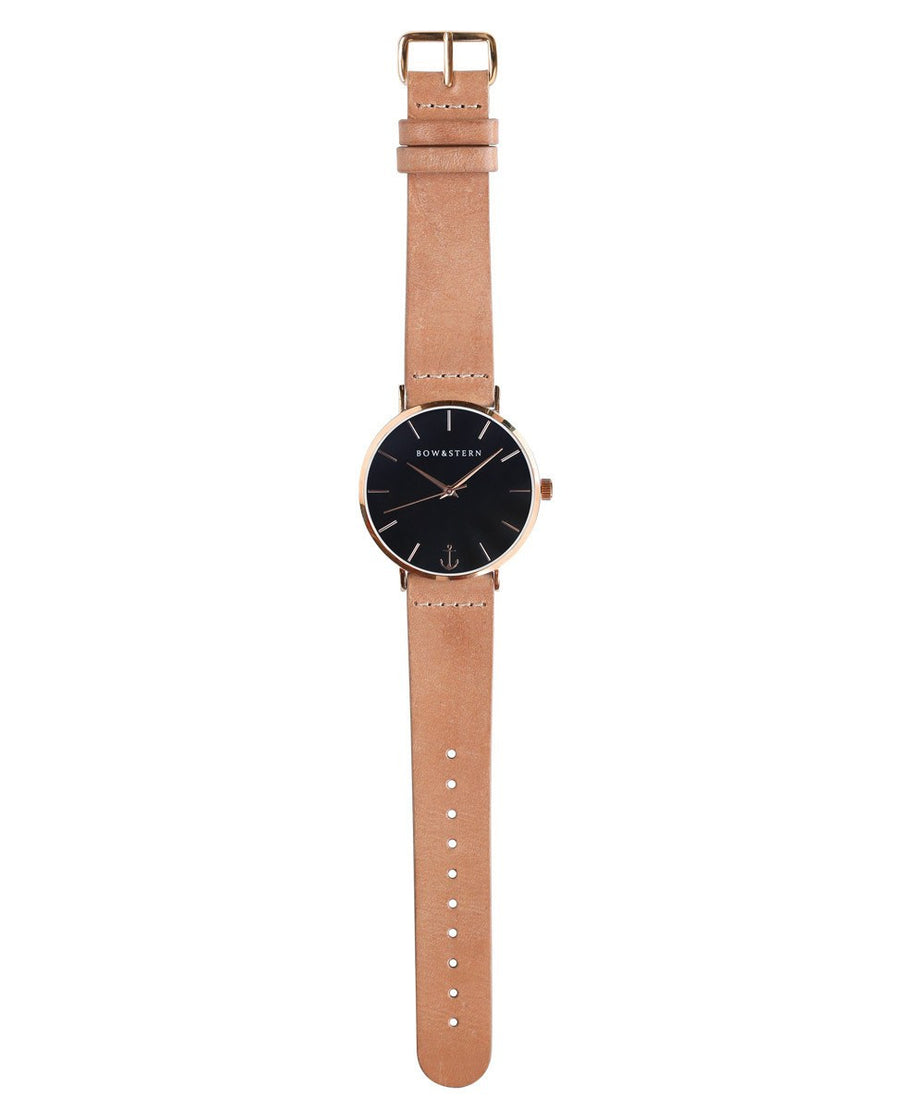 Rose Gold and Black Watch | Tan Leather Strap