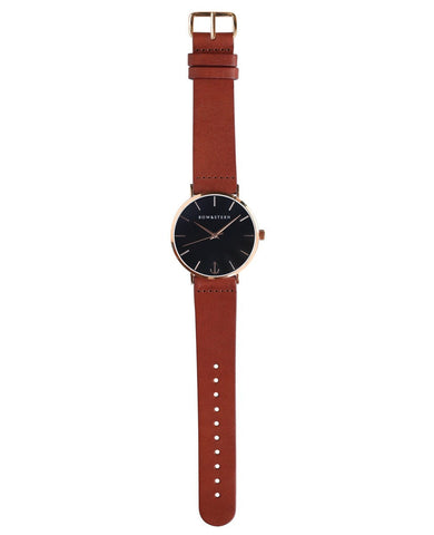 Catalina bow and stern watch. polished rose gold case, black dial, brown leather