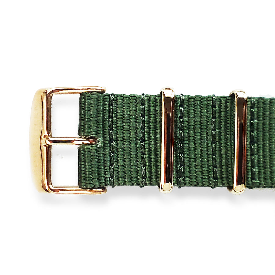 Army Green Nato Strap - Polished Gold Buckle