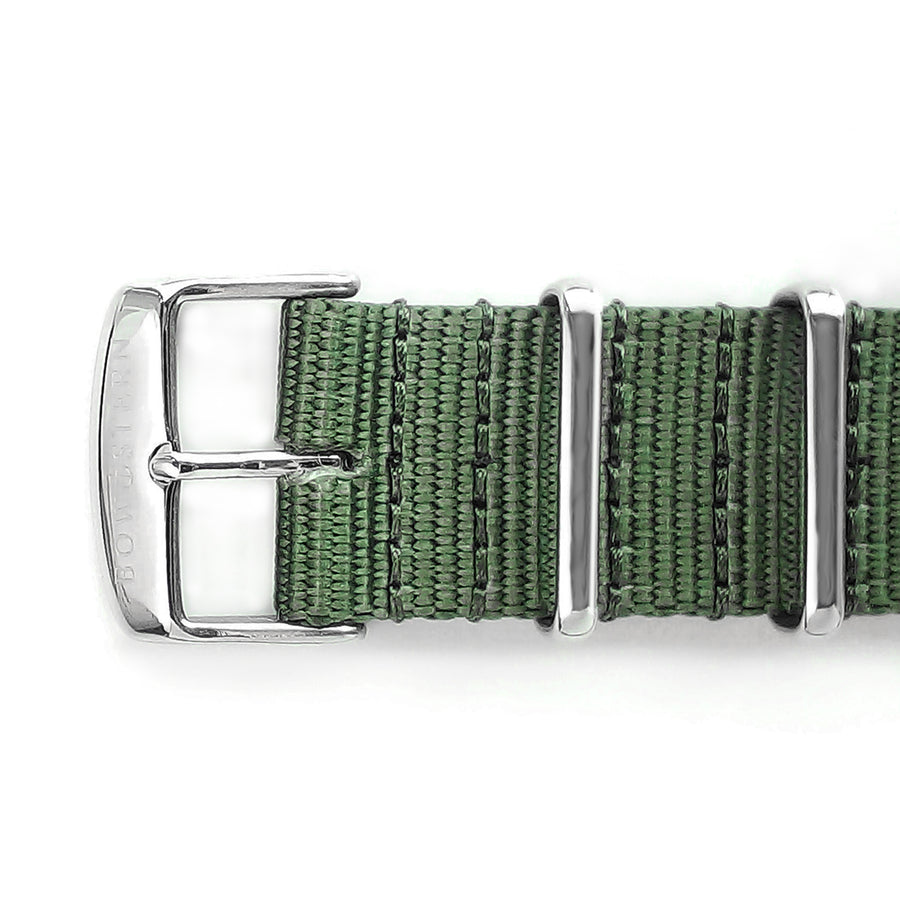 Army Green Nato Strap - Polished Silver Buckle