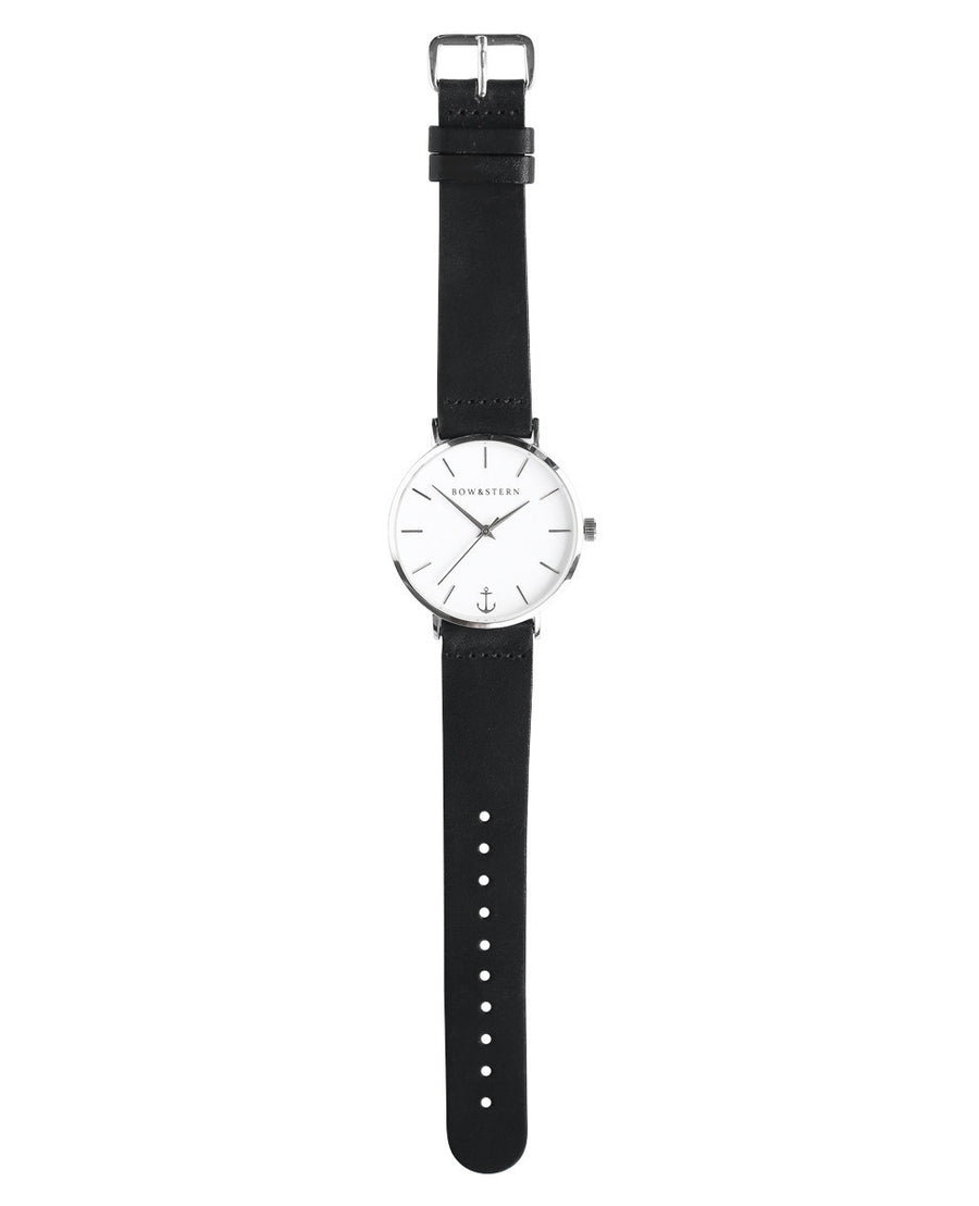 Silver and White Watch | Black Leather Strap