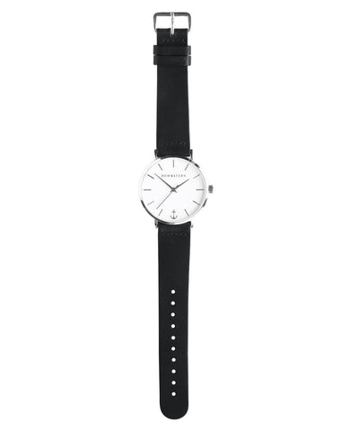 Havana bow and stern watch. polished silver case, white dial, black leather
