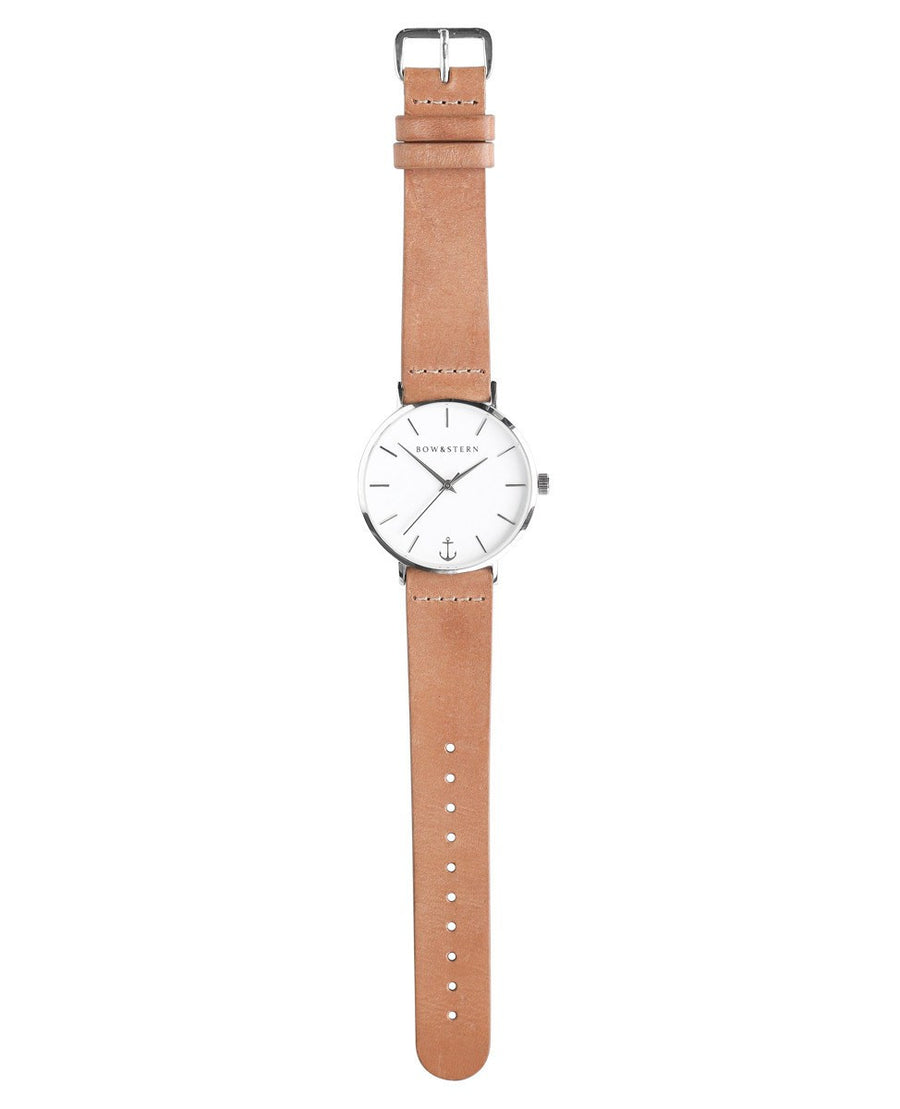Silver and White Watch | Tan Leather Strap - Silver Watch - AfterPay Watch - Bow and Stern Swiss Quartz Watch