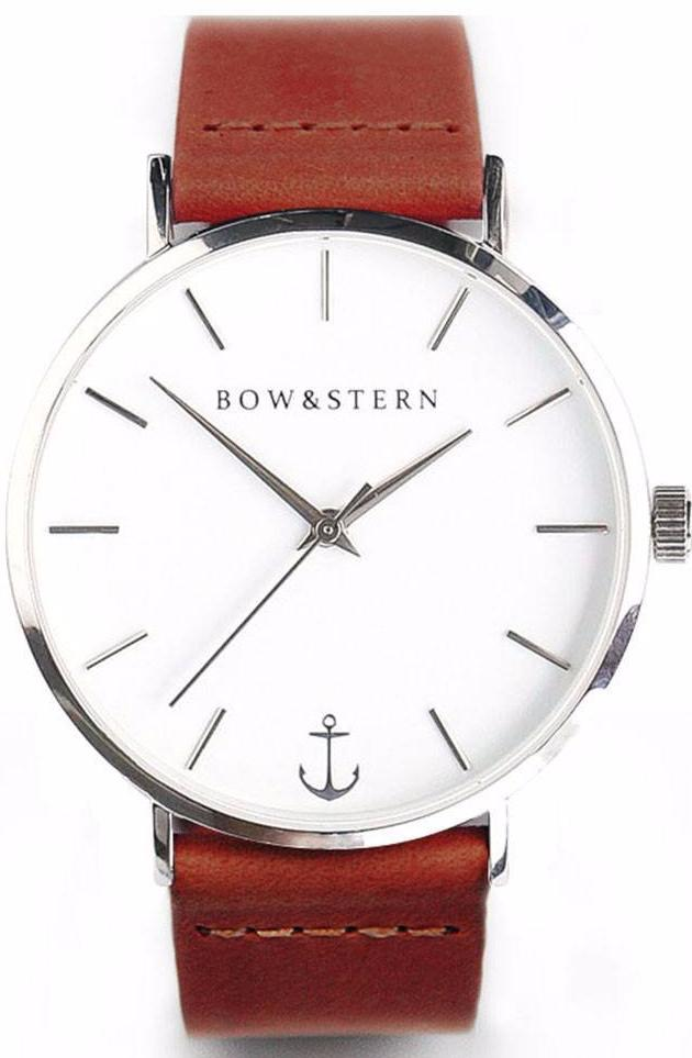 Silver and White Watch | Brown Leather Strap - Bow and Stern Watches
