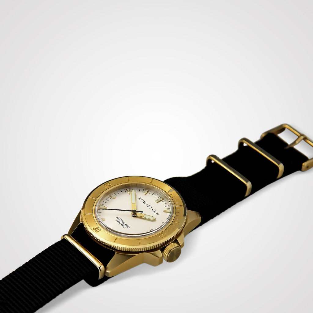 ABYSS Automatic Dive Watch - Brushed Gold Case (Black NATO)