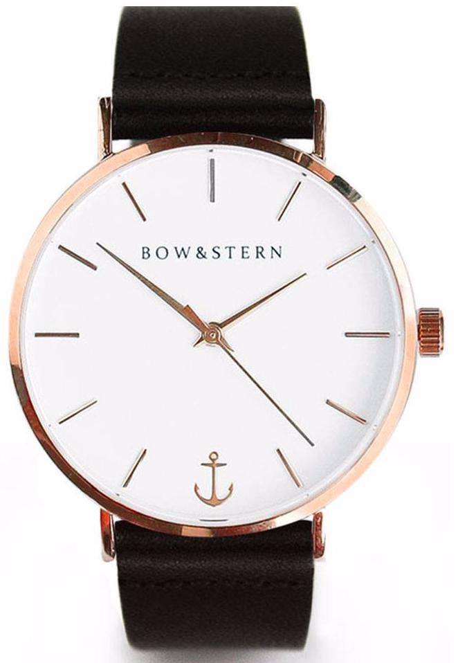 Rose Gold and White Watch | Black Leather Strap