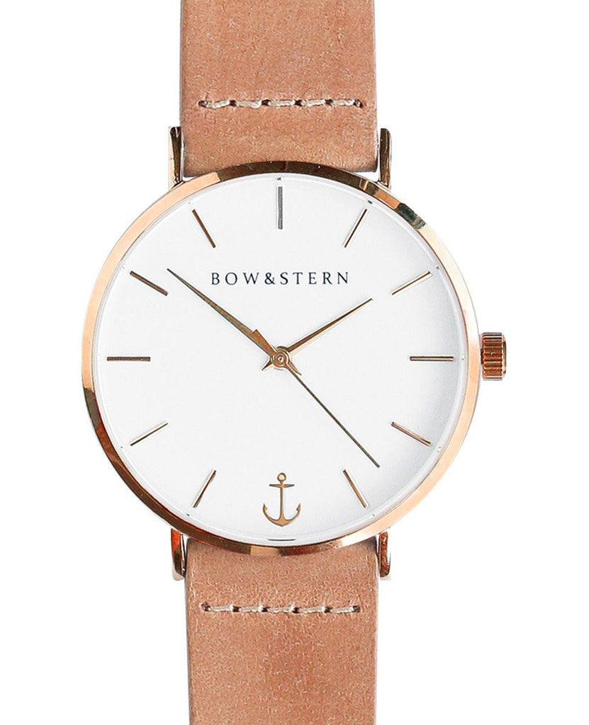 Liberty - Rose Gold and White Watch | Tan Leather