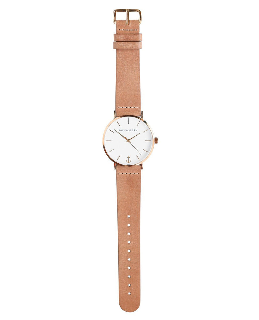 Rose Gold and White Watch | Tan Leather Strap - Rose Gold Watch - AfterPay Watch - Bow and Stern Swiss Quartz Watch