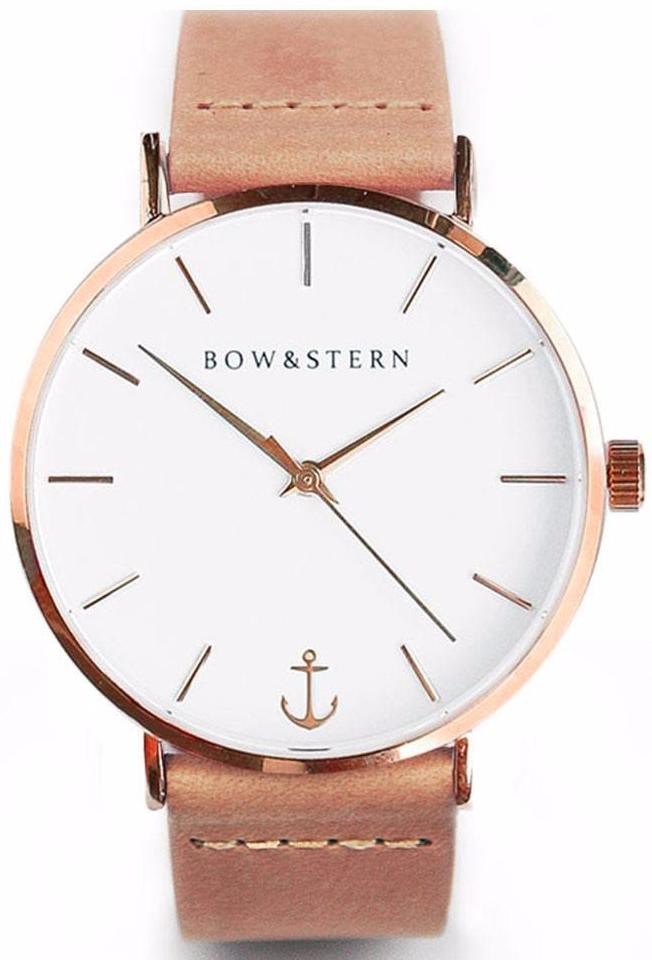 Rose Gold and White Watch | Tan Leather Strap