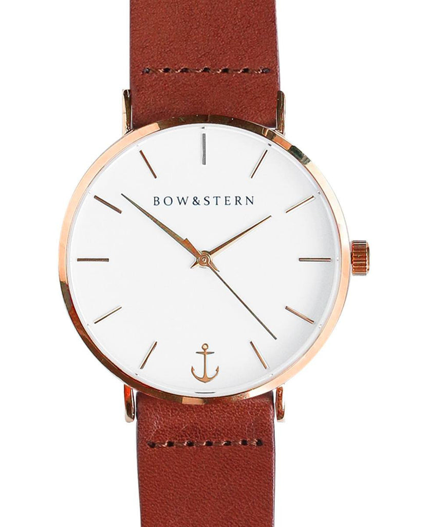 Liberty - Rose Gold and White Watch | Brown Leather