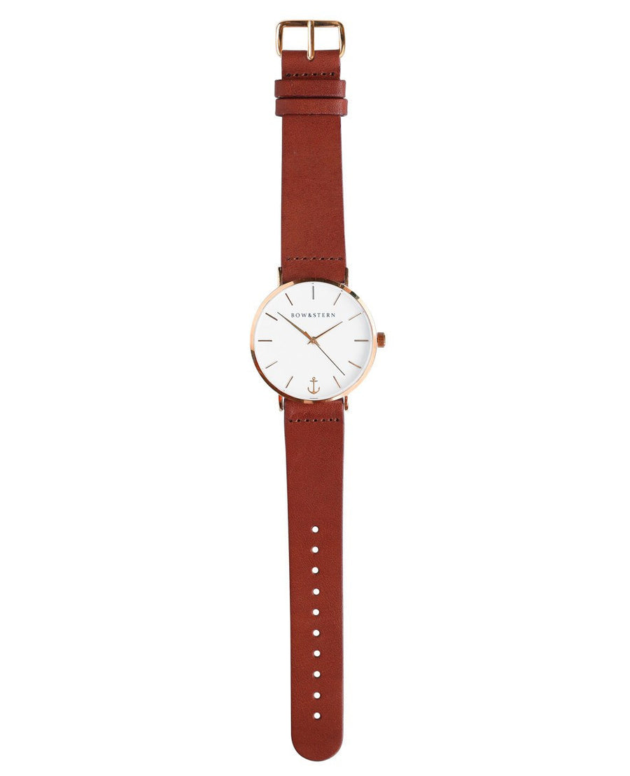 Rose Gold and White Watch | Brown Leather Strap - Rose Gold Watch - AfterPay Watch - Bow and Stern Swiss Quartz Watch