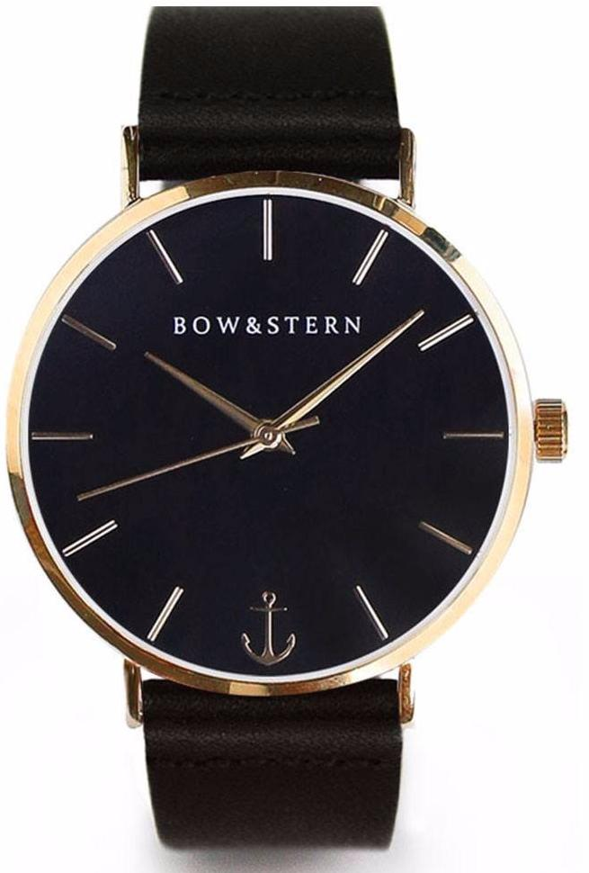 Gold and Black Watch | Black Leather Strap