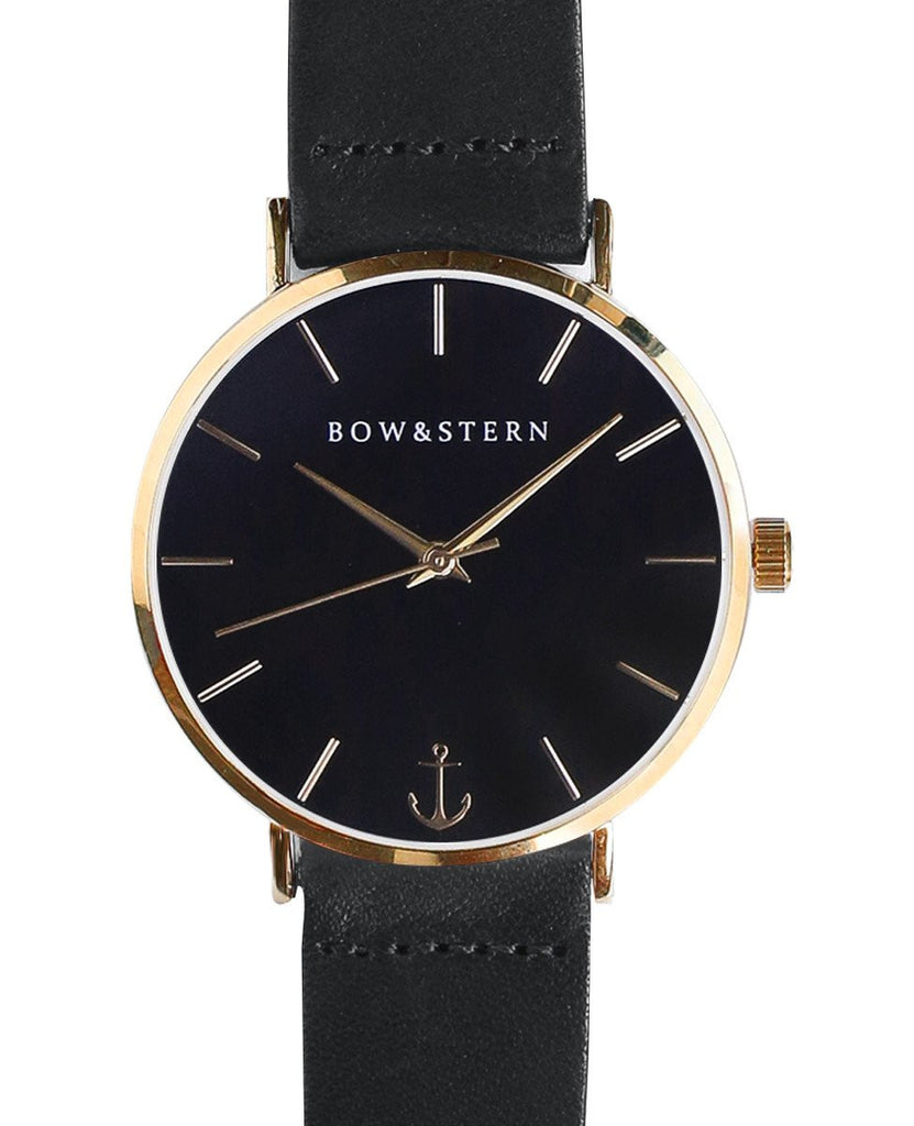 Monterey - Gold and Black Watch | Black Leather