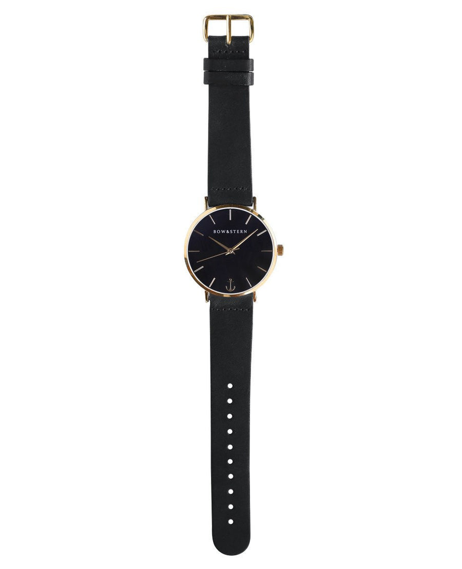 Gold and Black Watch | Black Leather Strap - Gold Watch - AfterPay Watch - Bow and Stern Swiss Quartz Watch