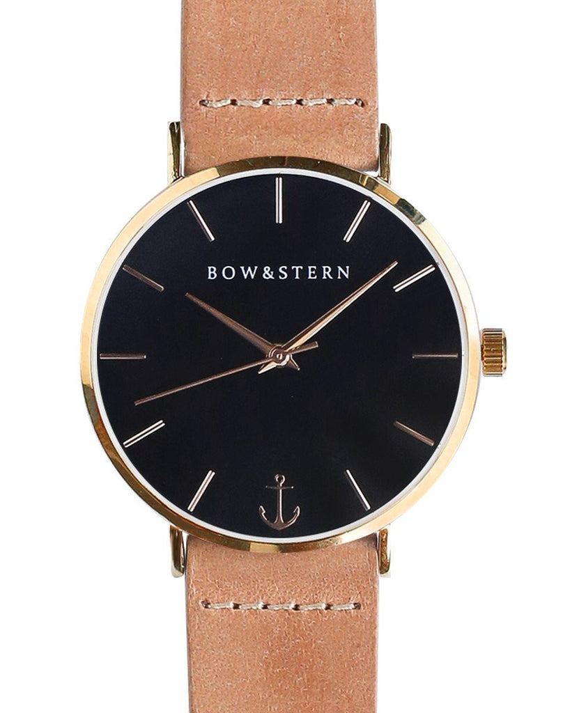 Gold and Black Watches | Tan Leather Strap