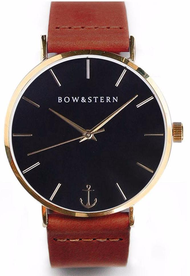 Gold and Black Watch | Brown Leather Strap