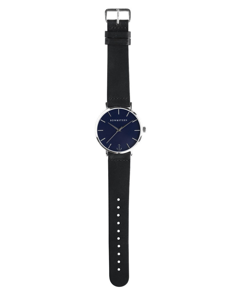 Newport - Silver and Blue Watch | Black Leather