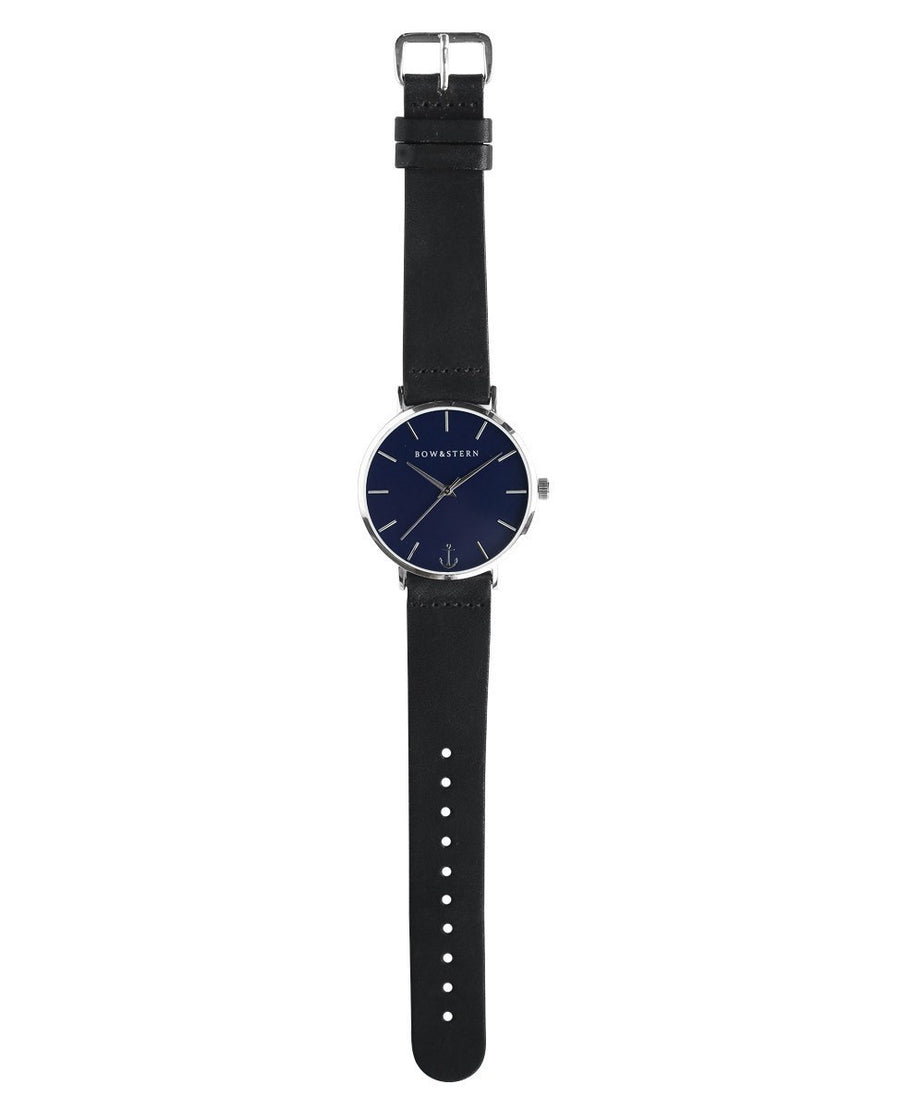 Silver and Blue watch | Black Leather Strap - Silver Watch - Navy Watch - AfterPay Watch - Bow and Stern Swiss Quartz Watch