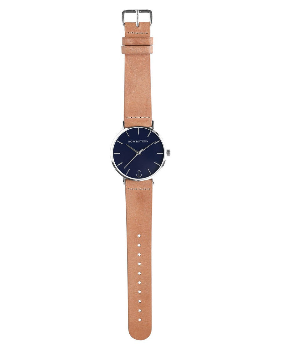 Silver and Blue Watch | Tan Leather Strap