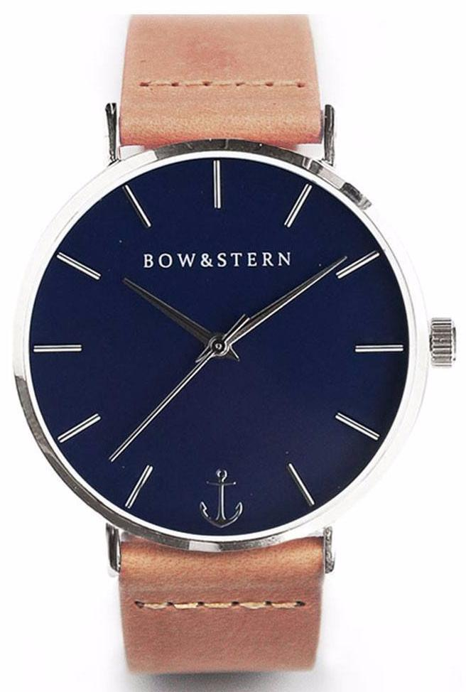 Silver and Blue Watch | Tan Leather Strap - Silver Watch - Navy Watch - AfterPay Watch - Bow and Stern Swiss Quartz Watch