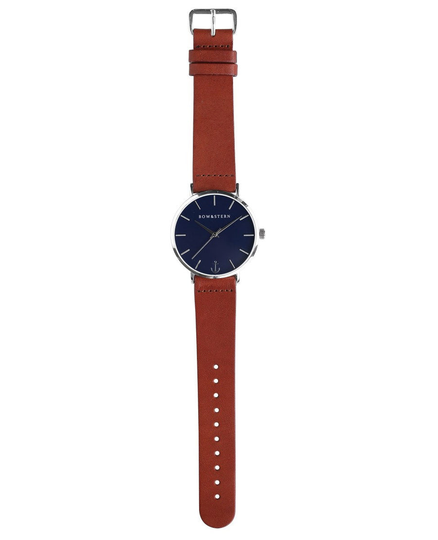 Navy blue watch with brown leather band - Bow and Stern